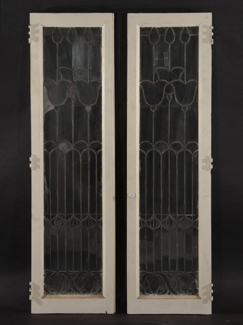 PAIR LEADED GLASS WINDOWS WITH WOOD FRAMES 1910