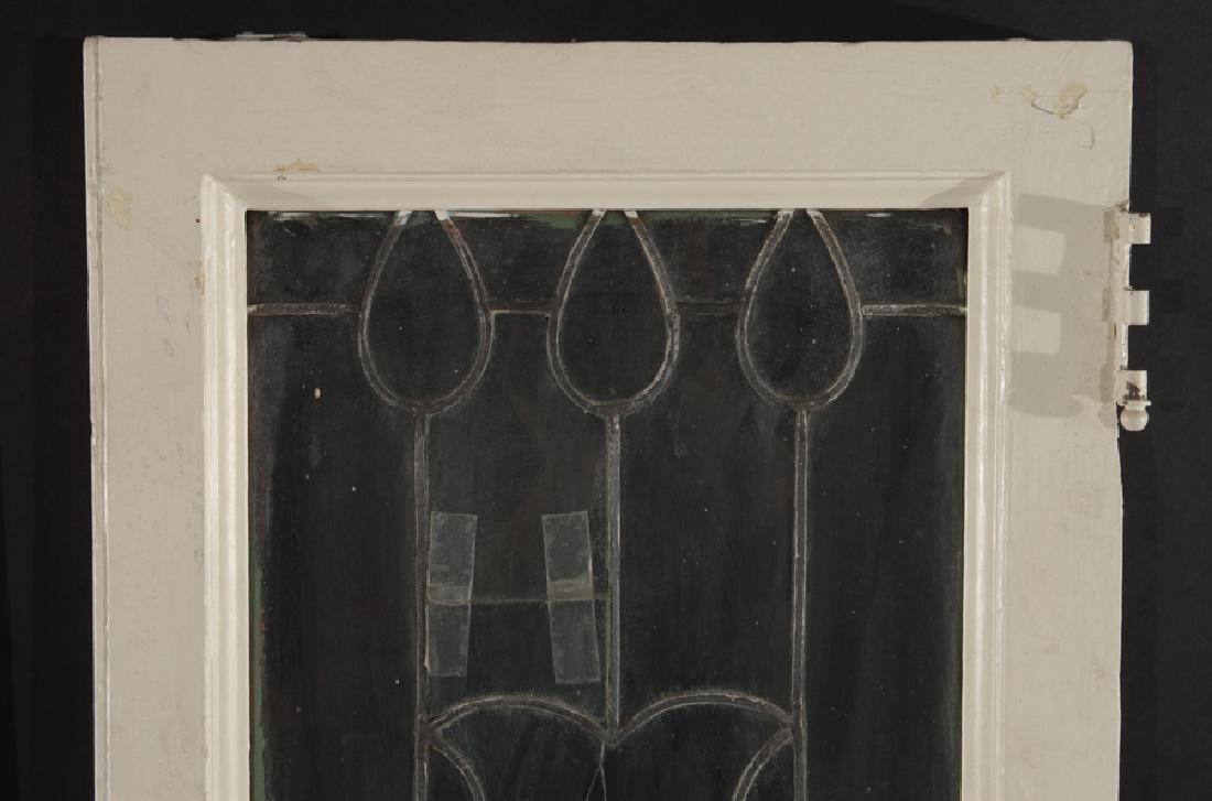 PAIR LEADED GLASS WINDOWS WITH WOOD FRAMES 1910 - 2