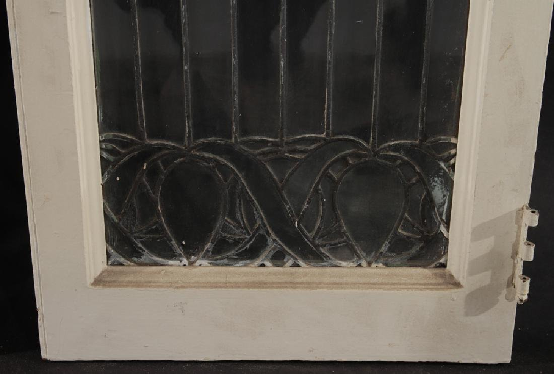 PAIR LEADED GLASS WINDOWS WITH WOOD FRAMES 1910 - 3