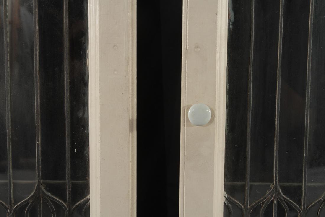 PAIR LEADED GLASS WINDOWS WITH WOOD FRAMES 1910 - 4