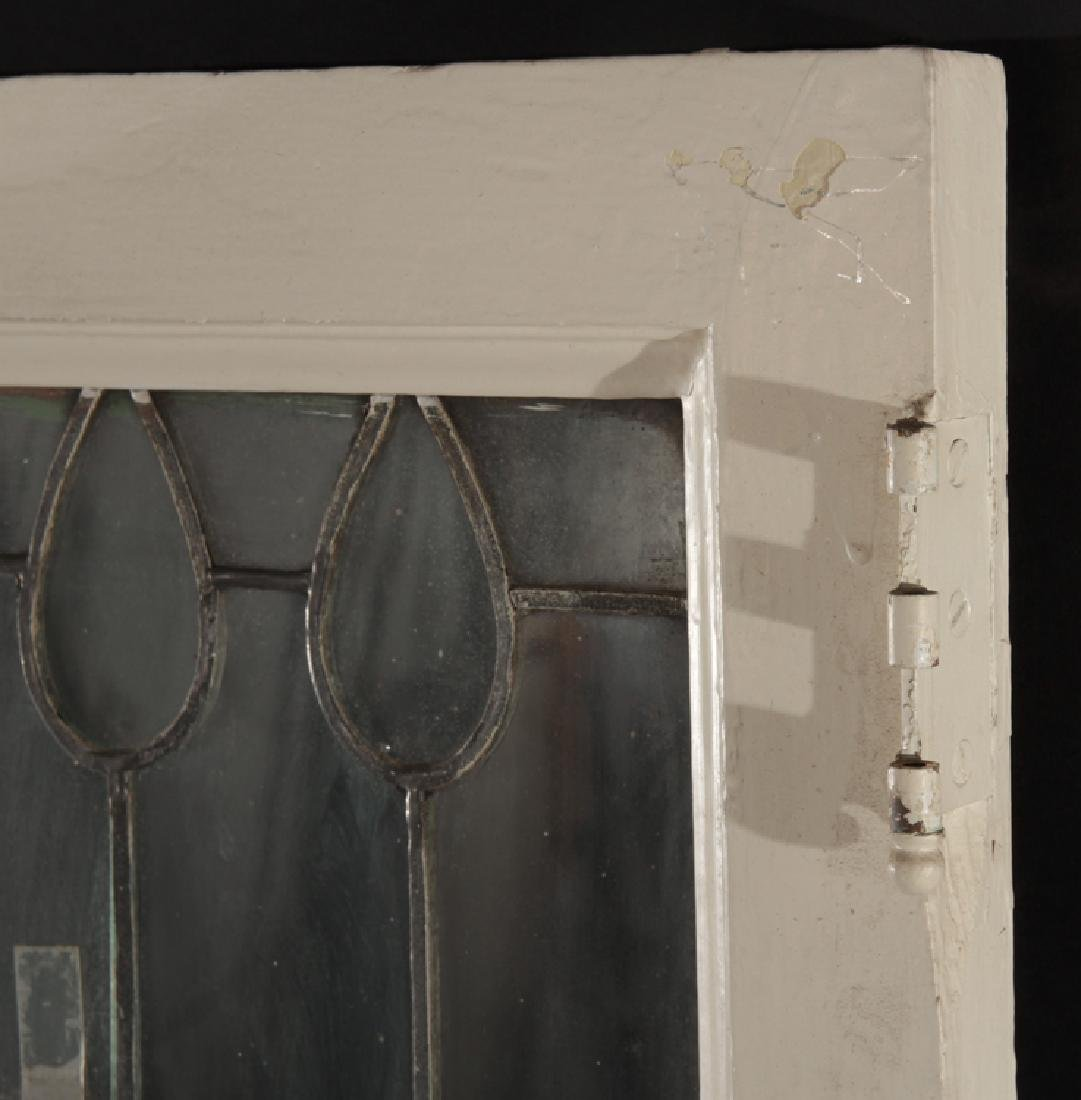 PAIR LEADED GLASS WINDOWS WITH WOOD FRAMES 1910 - 5