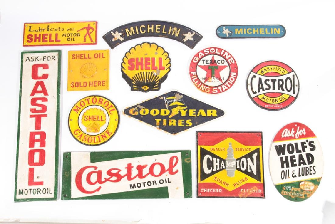 LOT OF 13 CAST IRON PAINTED GAS AUTO ADVERT SIGNS