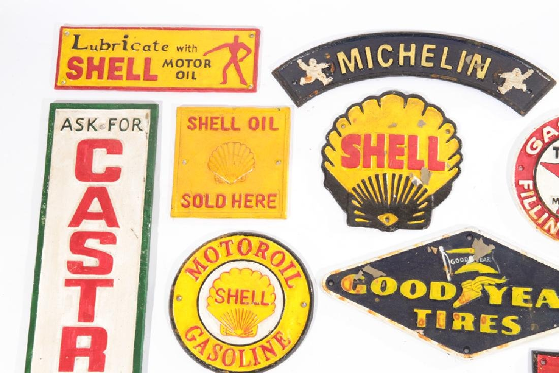 LOT OF 13 CAST IRON PAINTED GAS AUTO ADVERT SIGNS - 2