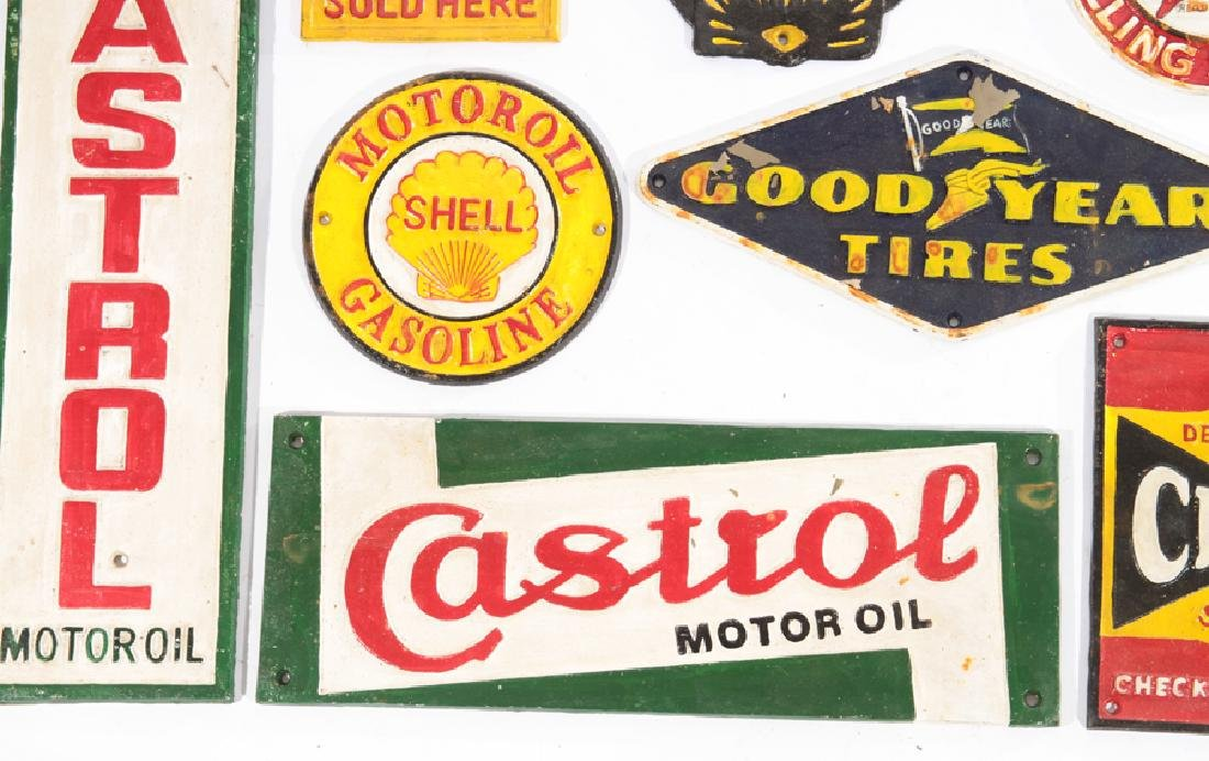LOT OF 13 CAST IRON PAINTED GAS AUTO ADVERT SIGNS - 3