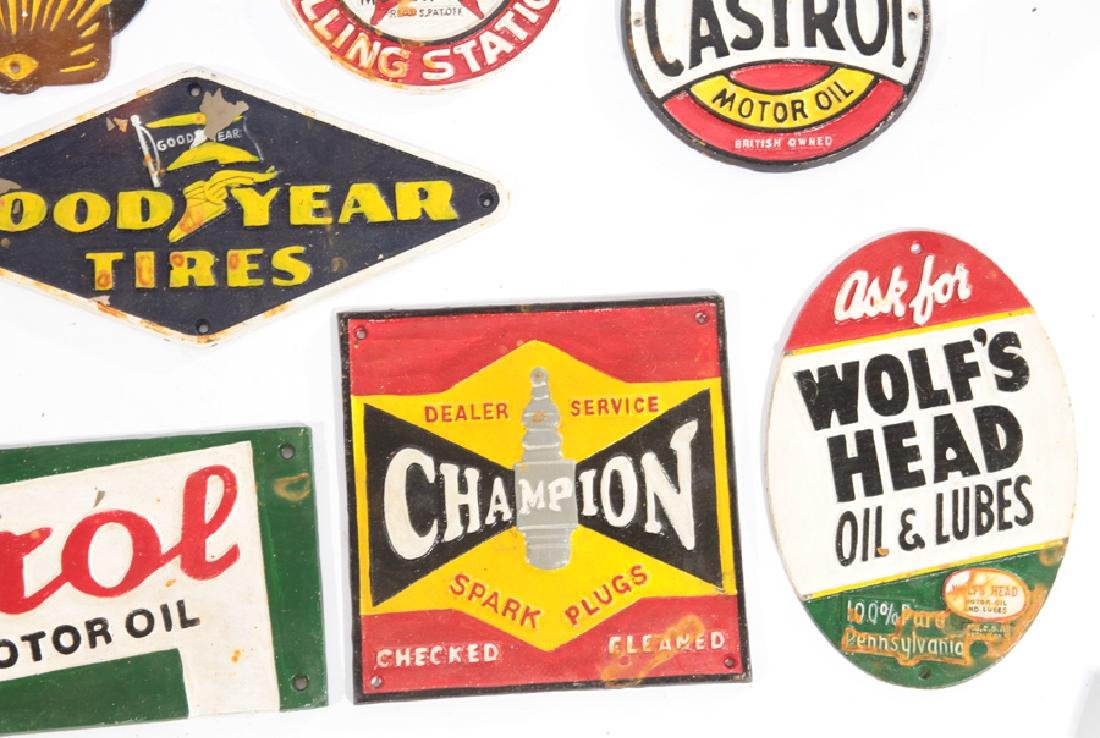 LOT OF 13 CAST IRON PAINTED GAS AUTO ADVERT SIGNS - 4