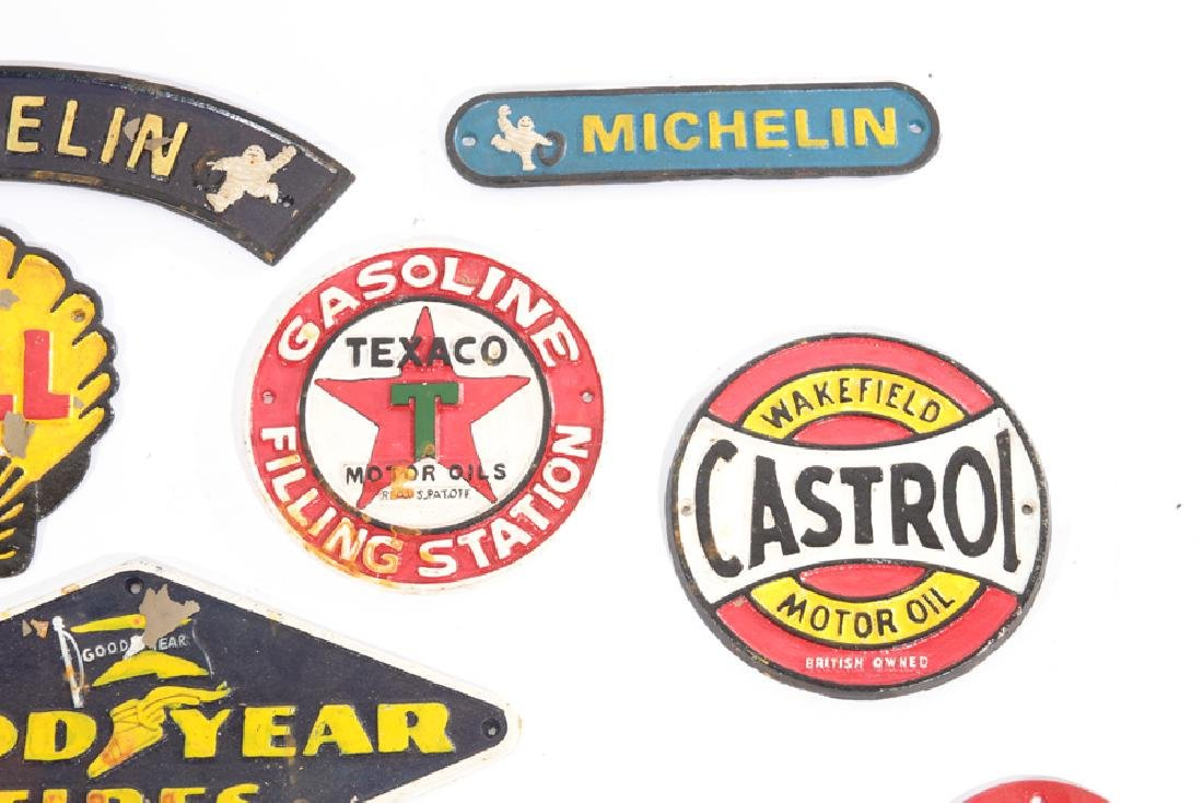 LOT OF 13 CAST IRON PAINTED GAS AUTO ADVERT SIGNS - 5
