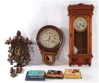 3 CLOCKS AND 11 CLOCK REFERENCE BOOKS C1920