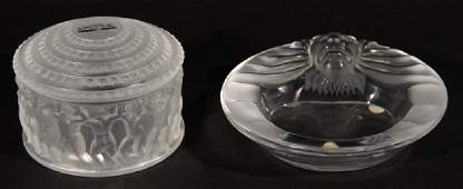 2 PIECE LOT OF LALIQUE CRYSTAL ASHTRAY AND DISH