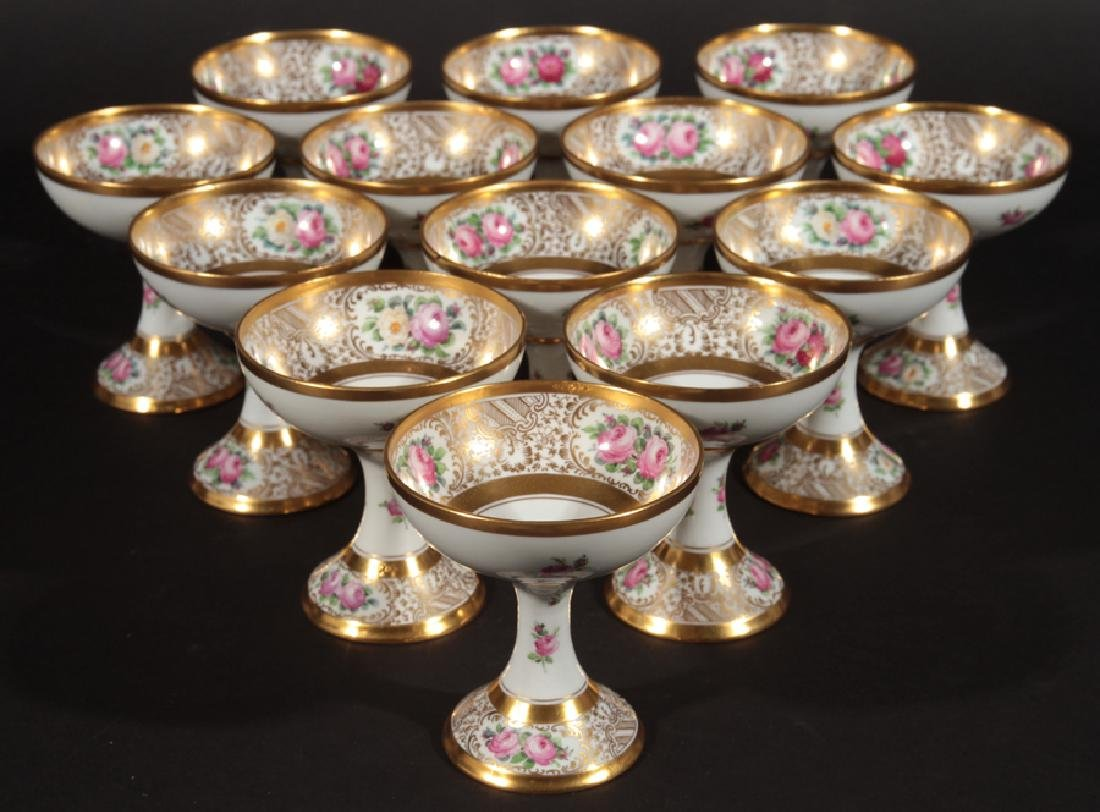 SET OF 13 HAND PAINTED DRESDEN SORBETS MARKED