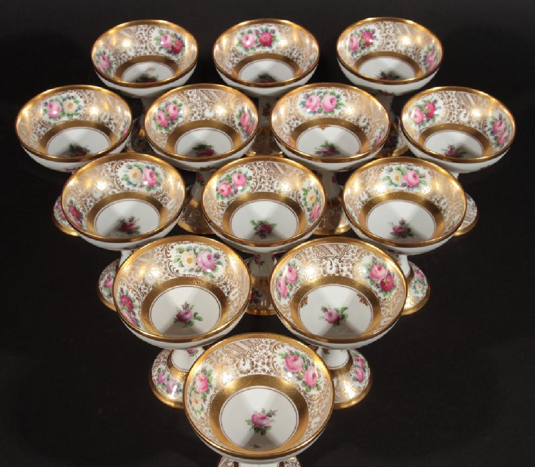 SET OF 13 HAND PAINTED DRESDEN SORBETS MARKED - 2