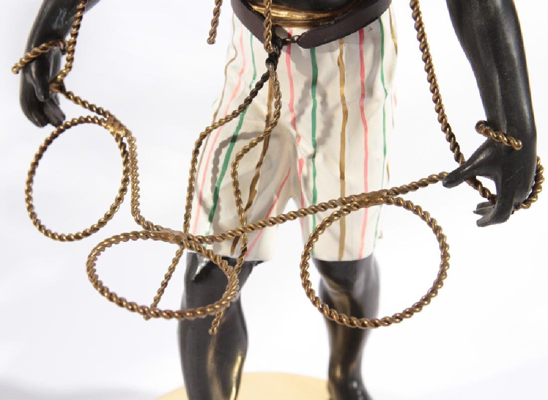 PAIR OF BLACKAMOORE FIGURINES ATOP BRASS STANDS - 6
