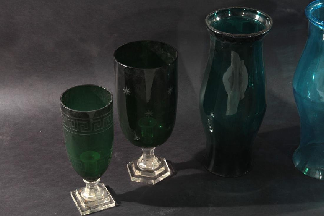 HURRICANE FORM GLASS SHADES IN BLUE AND GREEN - 4