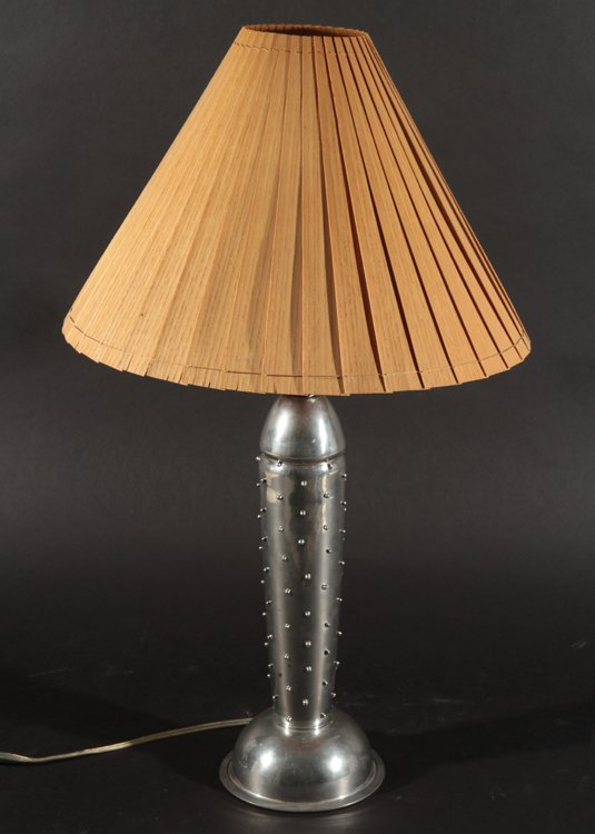 ART DECO STYLE BULLET FORM METAL TABLE LAMP