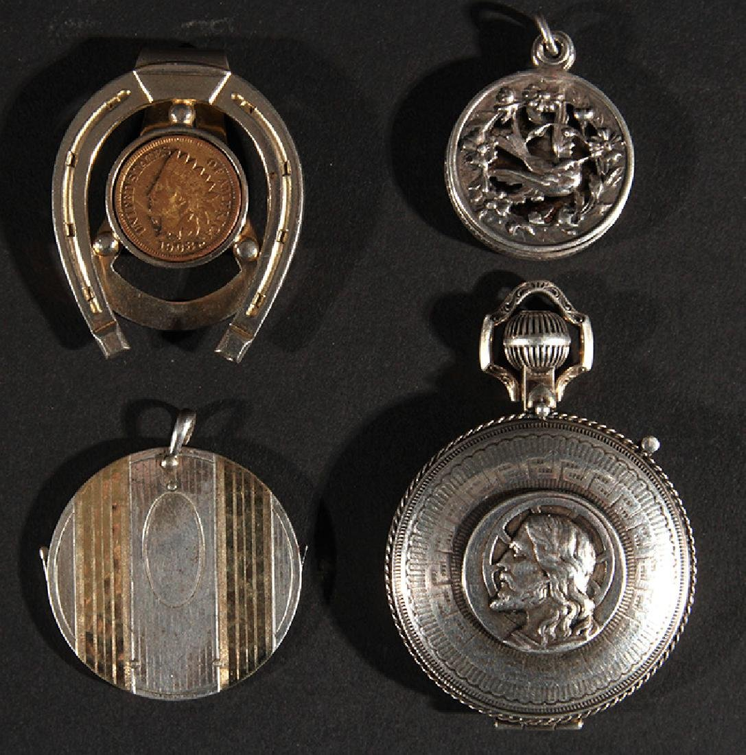 LOT OF 4 ITEMS SILVER LOCKETS 14K GOLD NAIL KIT
