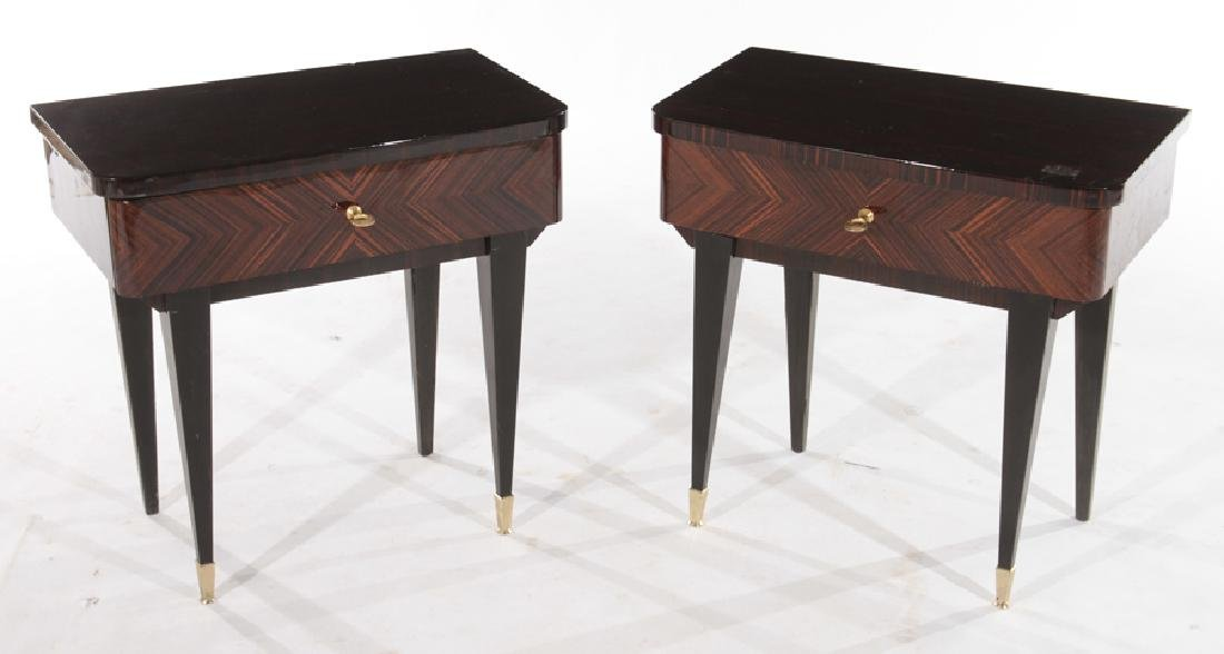 PAIR FRENCH MACASSAR SINGLE DRAWER TABLES C.1950