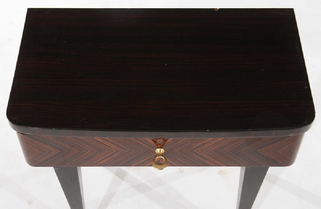 PAIR FRENCH MACASSAR SINGLE DRAWER TABLES C.1950 - 4