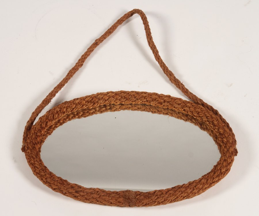 FRENCH AUDOUX MINET WOVEN ROPE MIRROR 1960