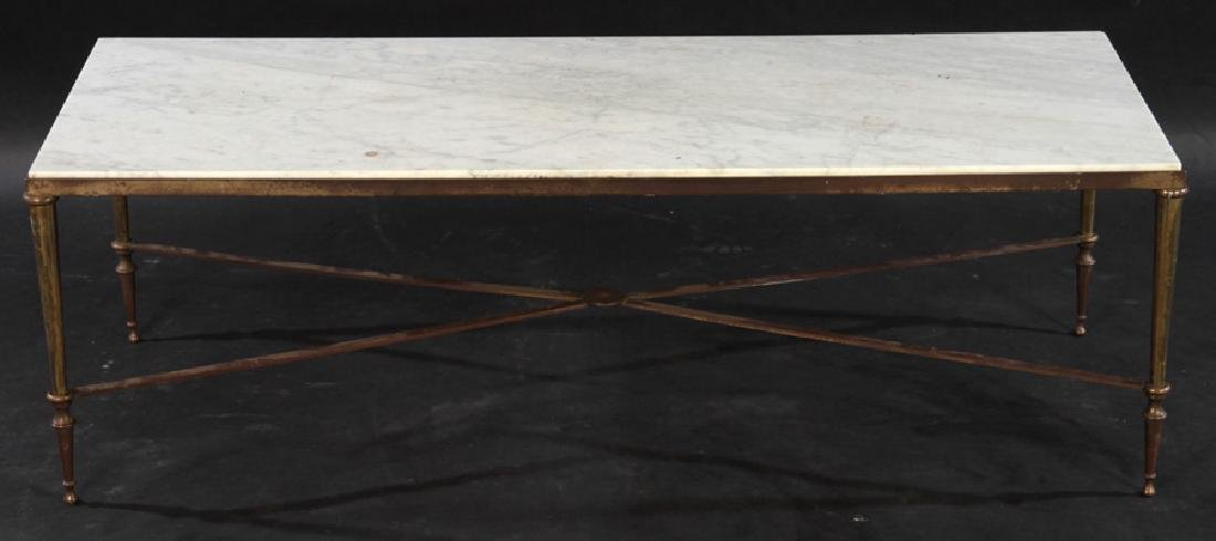 NEOCLASSICAL BRONZE COFFEE TABLE MARBLE TOP 1940 - 2