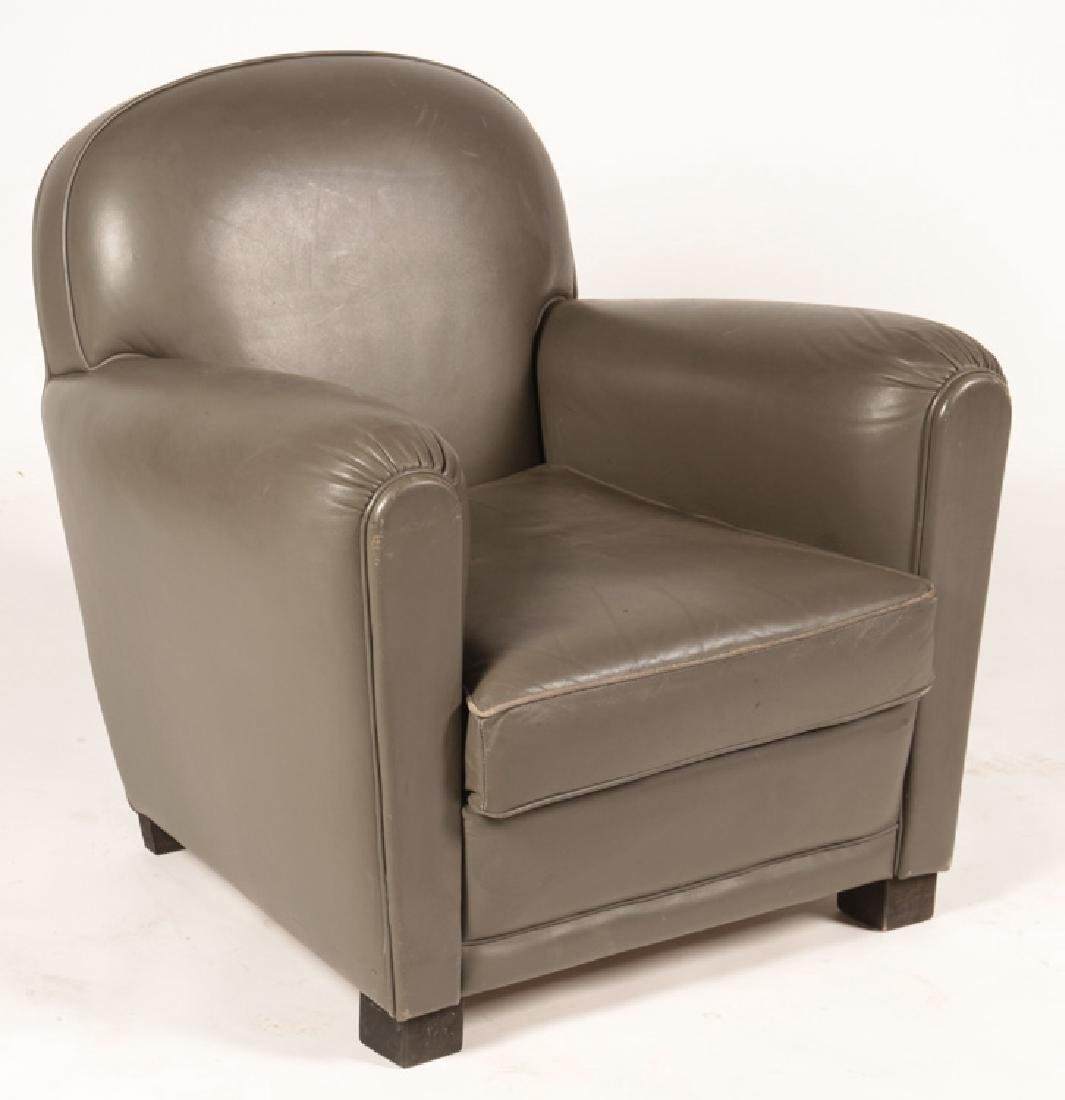 PAIR FRENCH ART DECO LEATHER CLUB CHAIRS 1960 - 2