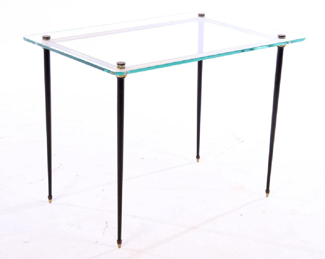 FRENCH MODERN BRASS IRON GLASS SIDE TABLE 1960