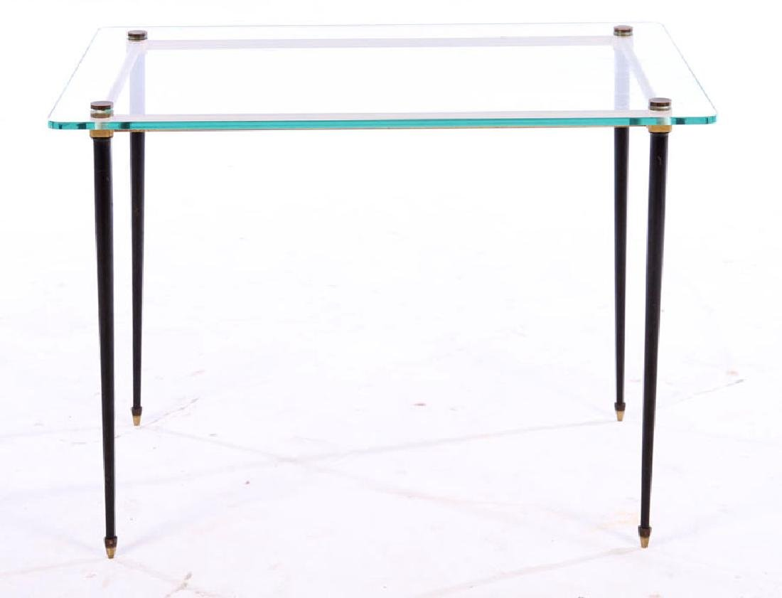 FRENCH MODERN BRASS IRON GLASS SIDE TABLE 1960 - 2