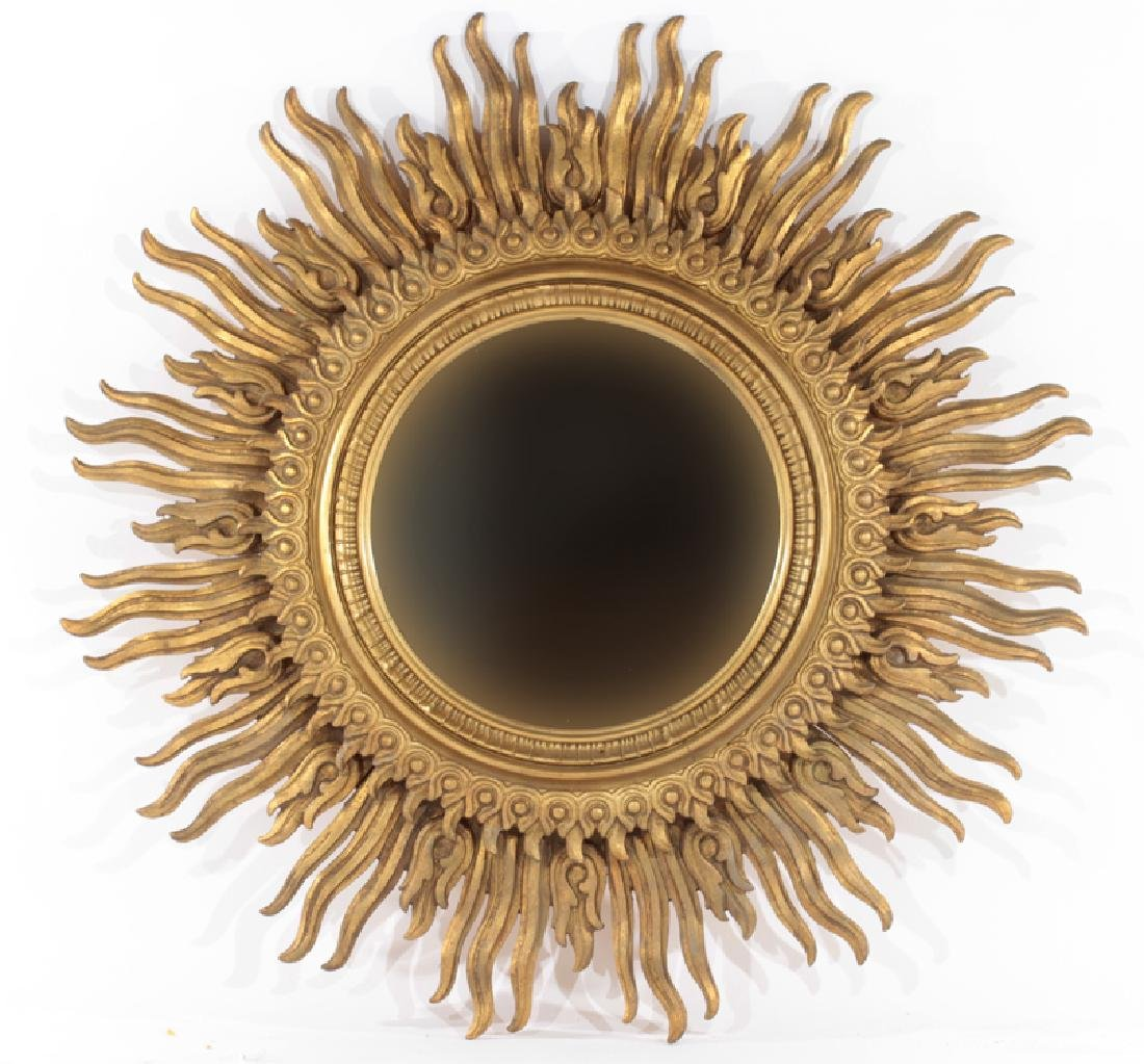 GILTWOOD CARVED SUNBURST MIRROR WITH 2 TIERS