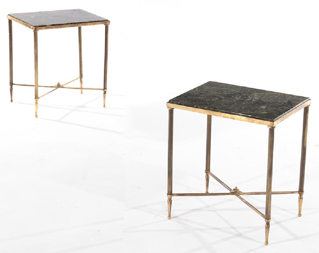 PAIR FRENCH BRONZE END TABLES MARBLE TOPS 1960