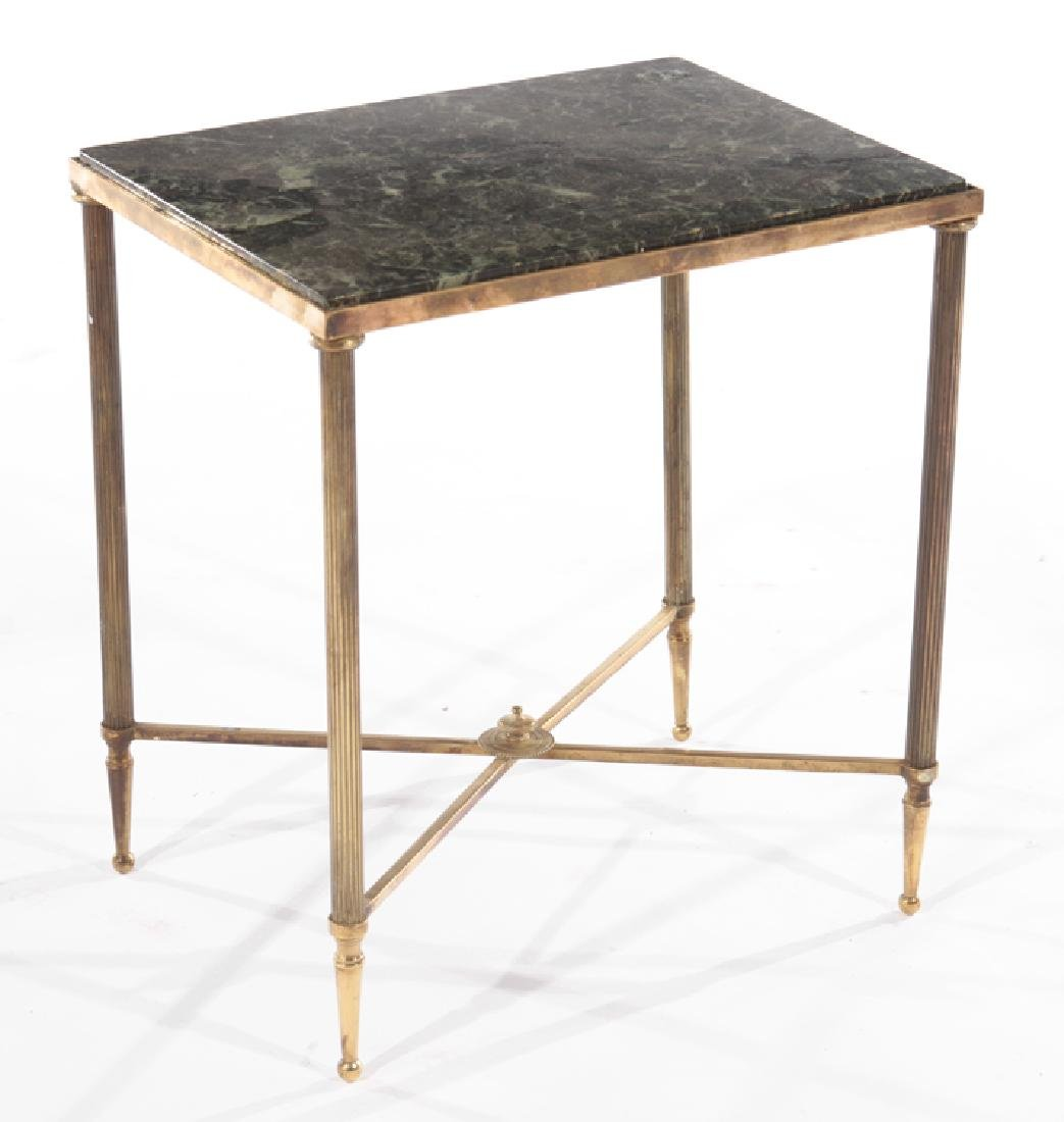 PAIR FRENCH BRONZE END TABLES MARBLE TOPS 1960 - 2