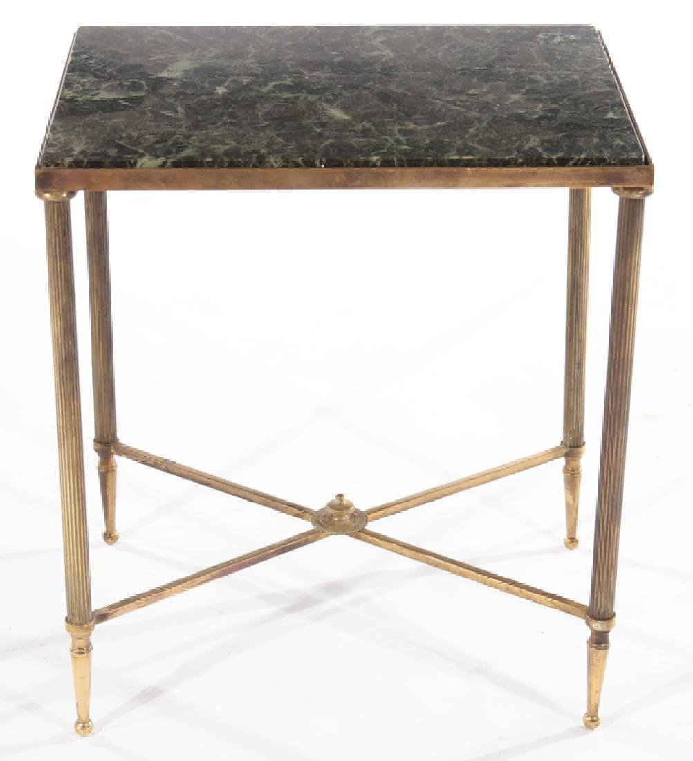 PAIR FRENCH BRONZE END TABLES MARBLE TOPS 1960 - 3