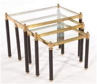 3 PIECE SET OF BRASS NESTING TABLES CIRCA 1960