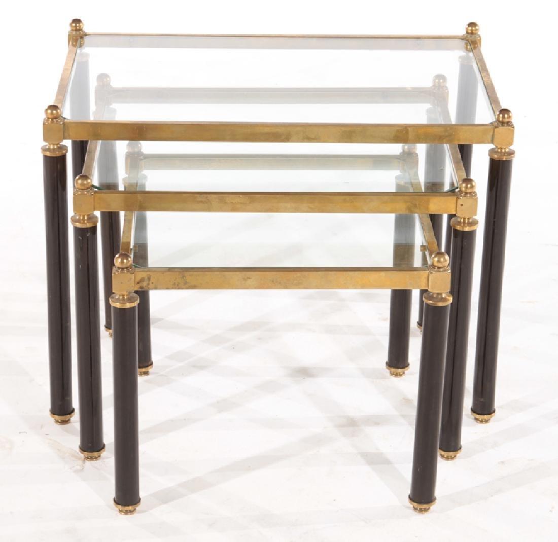 3 PIECE SET OF BRASS NESTING TABLES CIRCA 1960 - 2