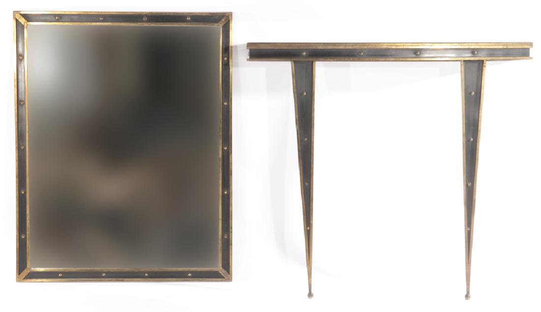 ITALIAN BRONZE AND IRON CONSOLE MATCHING MIRROR