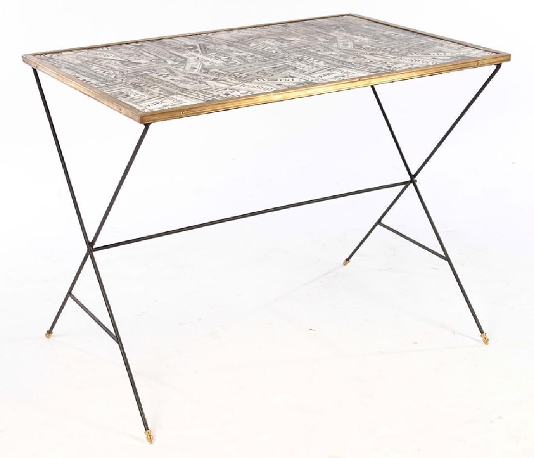 STYLISH TABLE DECOUPAGE BRONZE FRAMED TOP