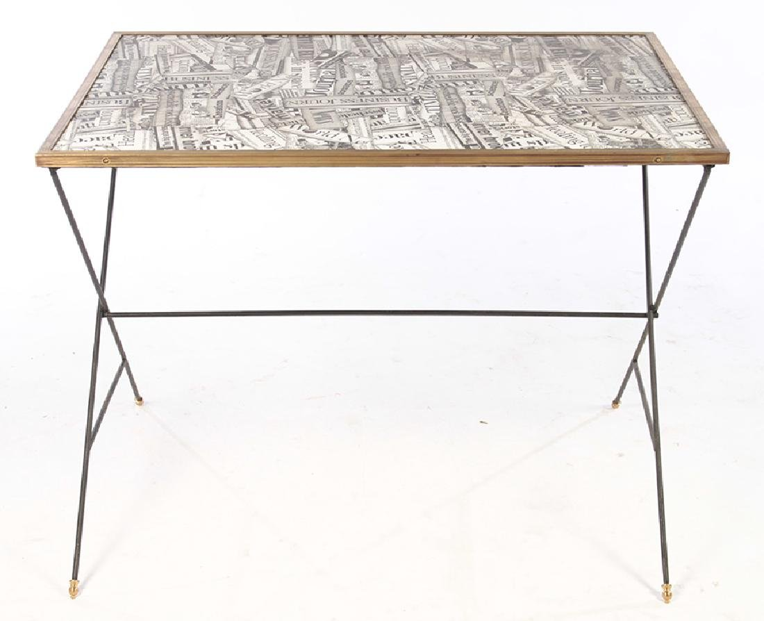 STYLISH TABLE DECOUPAGE BRONZE FRAMED TOP - 2