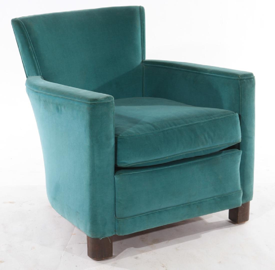 FRENCH ART DECO VELVET UPHOLSTERED CLUB CHAIR