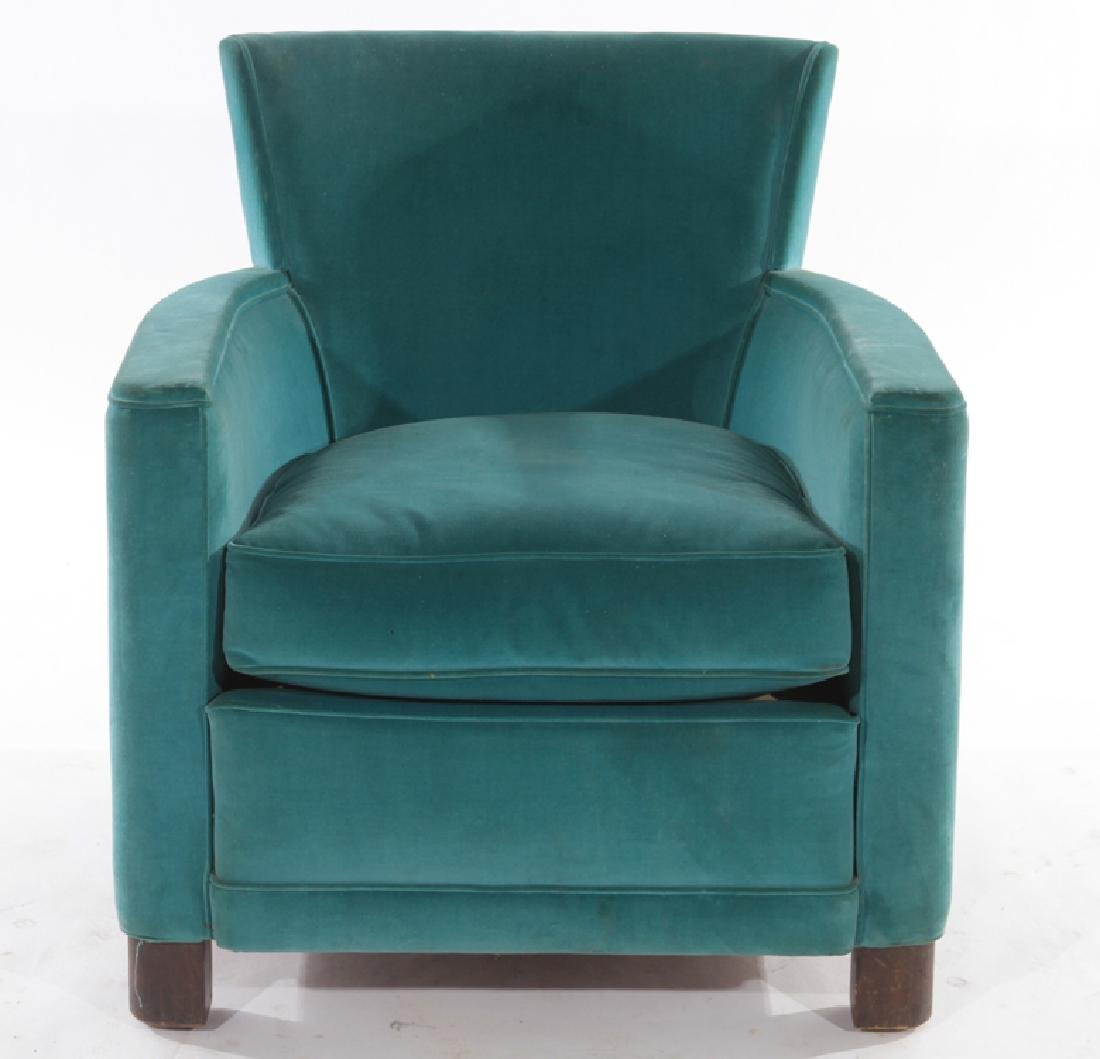 FRENCH ART DECO VELVET UPHOLSTERED CLUB CHAIR - 2