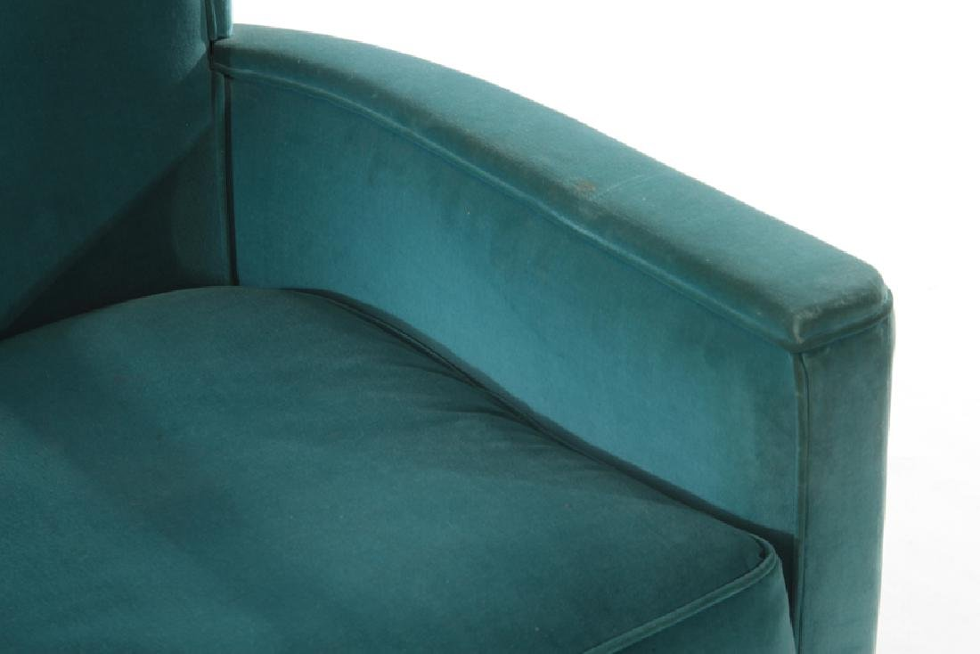 FRENCH ART DECO VELVET UPHOLSTERED CLUB CHAIR - 3