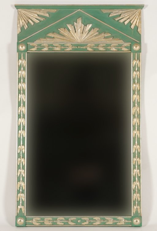 ART DECO STYLE PAINTED SILVER GILT MIRROR 1950