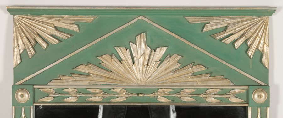 ART DECO STYLE PAINTED SILVER GILT MIRROR 1950 - 2
