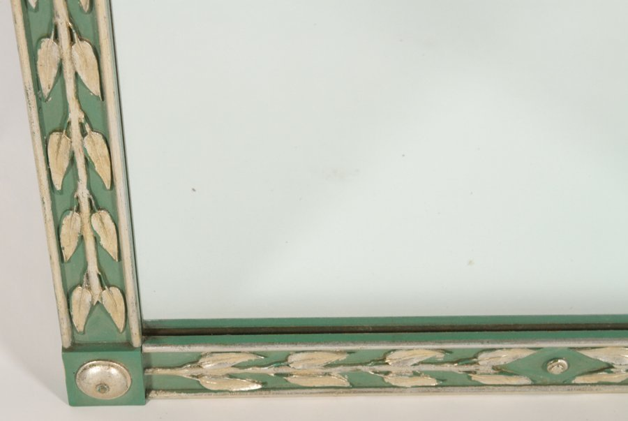ART DECO STYLE PAINTED SILVER GILT MIRROR 1950 - 3