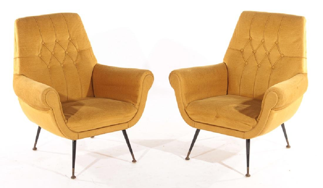 PAIR ITALIAN MODERN UPHOLSTERED CLUB CHAIRS 1960