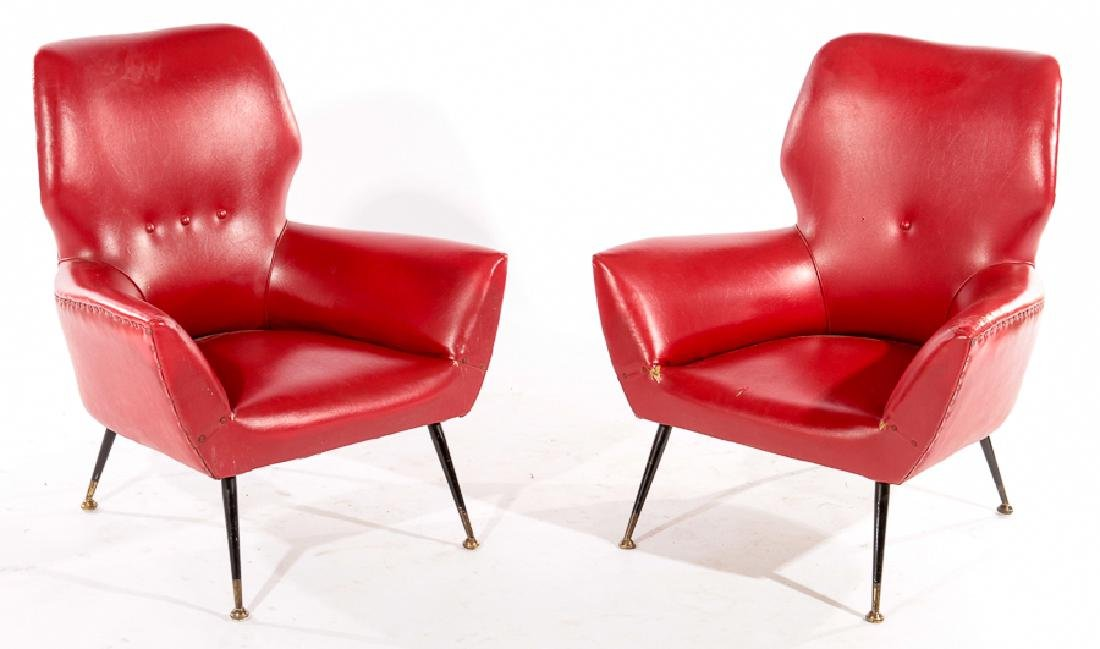 PAIR ITALIAN MID CENTURY MODERN CLUB CHAIRS 1960