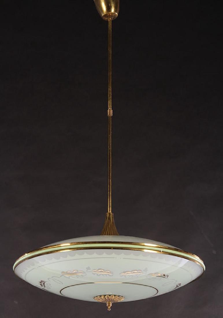 ITALIAN MID CENTURY MODERN GLASS DOMED LIGHT 1960