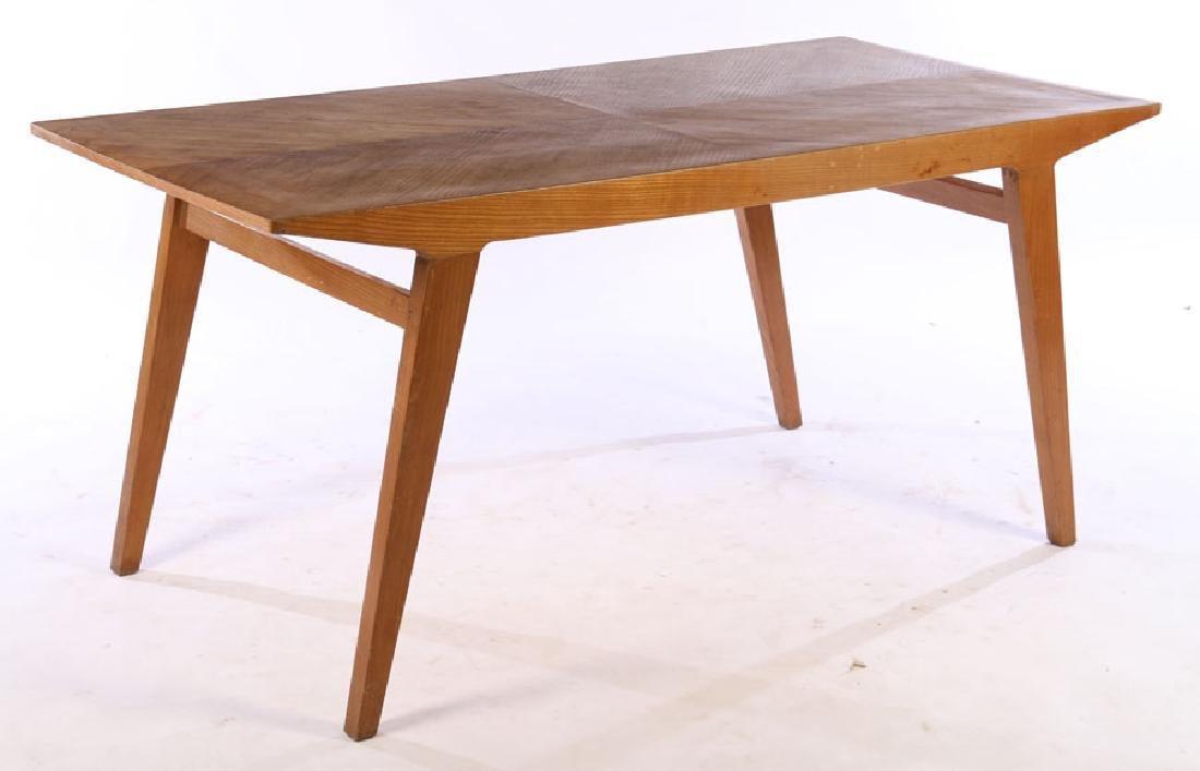 ITALIAN MODERN OAK DINING TABLE FLARED LEGS 1970