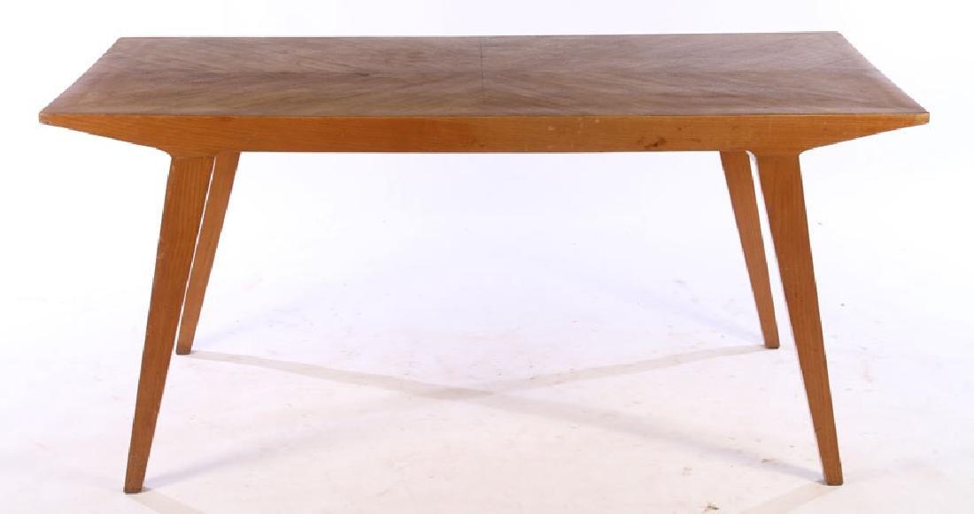 ITALIAN MODERN OAK DINING TABLE FLARED LEGS 1970 - 2