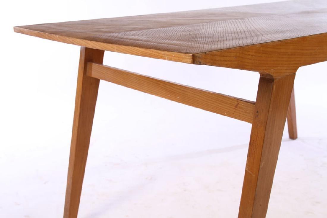 ITALIAN MODERN OAK DINING TABLE FLARED LEGS 1970 - 4