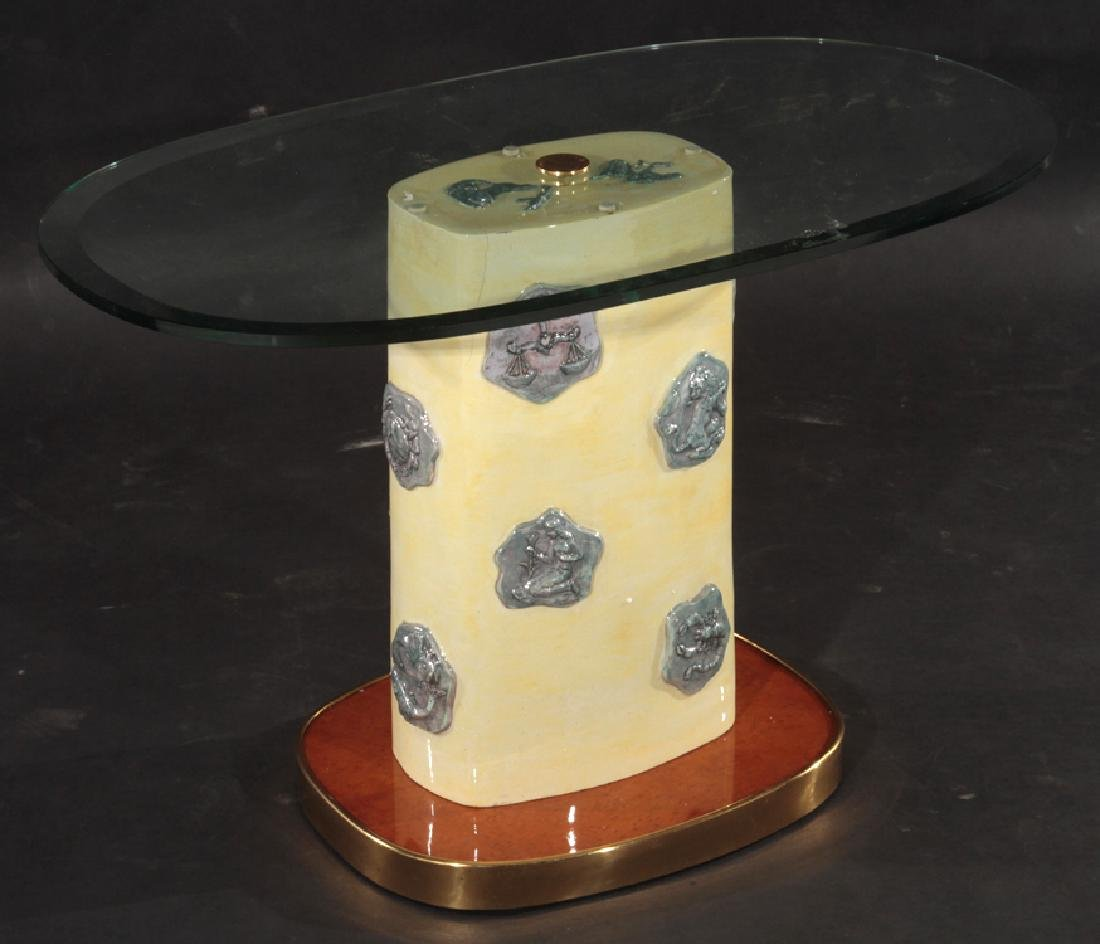 ITALIAN GLAZED POTTERY SIDE TABLE 1960