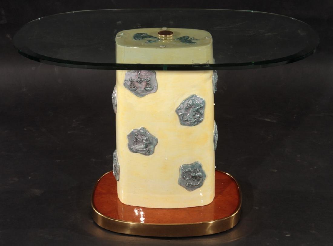 ITALIAN GLAZED POTTERY SIDE TABLE 1960 - 2