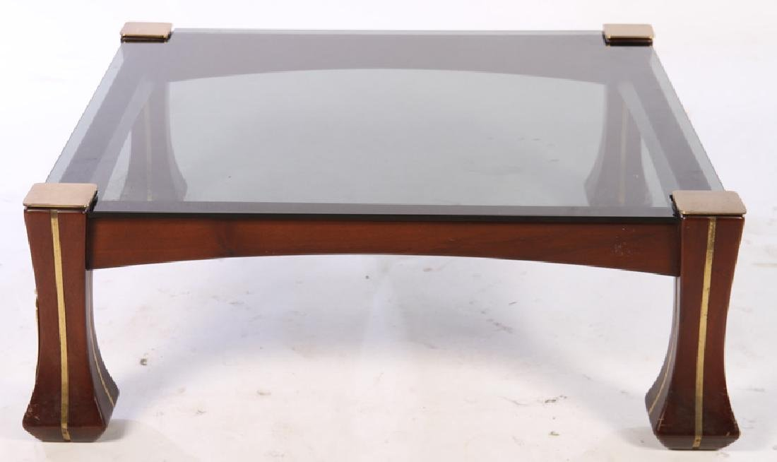 SOLID MAHOGANY BRASS INLAID COFFEE TABLE 1960