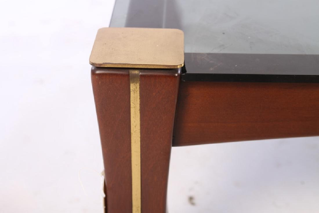 SOLID MAHOGANY BRASS INLAID COFFEE TABLE 1960 - 3